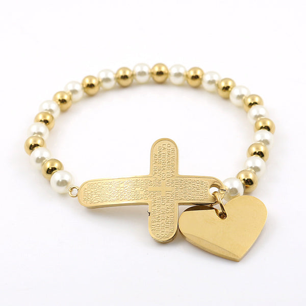 Gold Plated Bible Cross With Heart Charms Pendant  Stainless Steel Rosary Beads Bracelets Religion Unisex Female pulseira Bangle