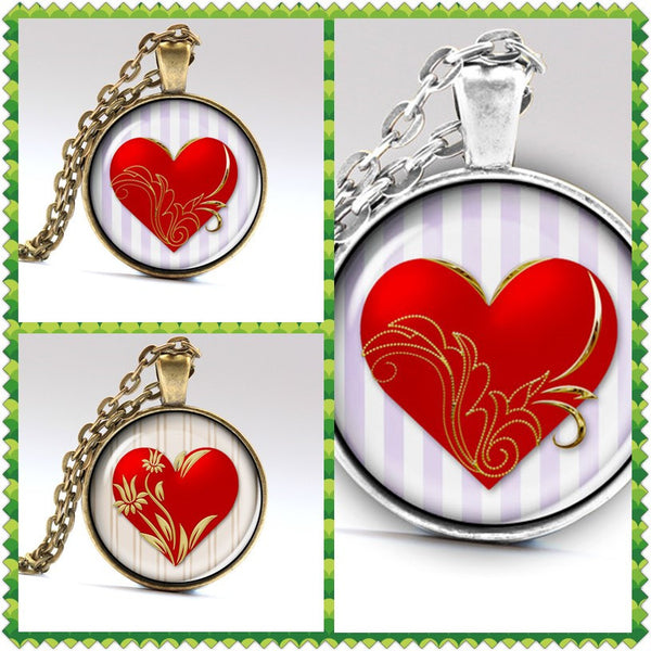 Handmade Love Heart Necklaces & Pendants Wedding Jewellery Valentines day Gift