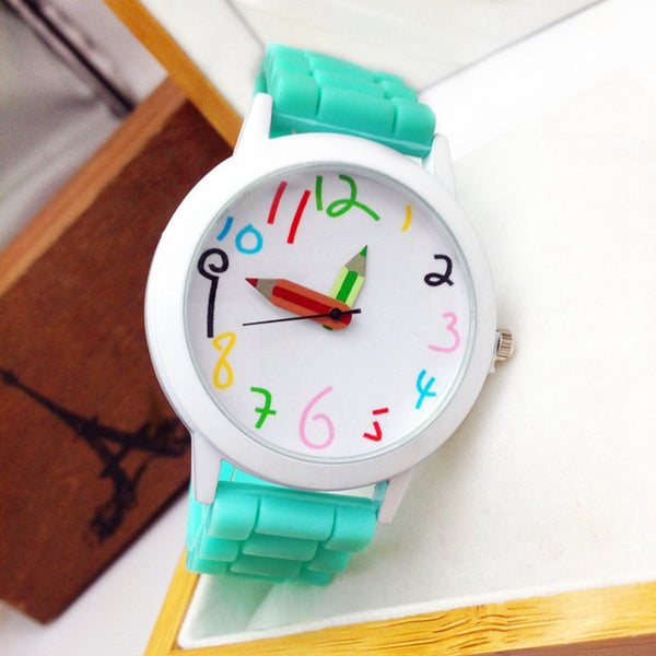 Cute Cartoon Pencil Children Kids watches Women Sport Watch Quartz Silicone Watch band Ladies Wristwatches Girl Boy