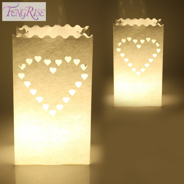 FENGRISE 10PCS Wedding Heart Tea Light Holder Luminaria Paper Lantern Candle Bag Home Valentines Day Gifts Party Decoration