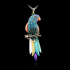 Long Jewelry Sweater Necklace 2016 New Bird pendant Exquisite Colourful Parrot Pendants Necklaces Fashion Necklaces For Woman