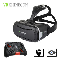 Hot 3D VR Virtual Reality 3D Glasses VR SHINECON 2.0 Google Cardboard Helmet with Bluetooth Remote Control Gamepad for 4.7-6.0