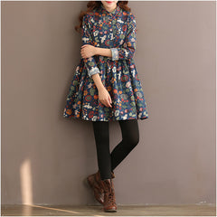 Spring Dress Floral Print A Line Women Dress Long Sleeve High Waist Turn Down Collar Cotton Dress Plus Size Women Clothing