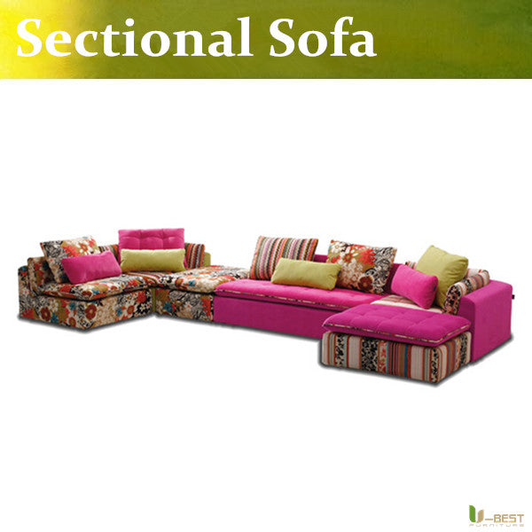 U-BEST Modern Pink Fabric Sofa Couch Sectional Set Living Room Furniture,Sectional Sofa Couch Ottoman Chaise
