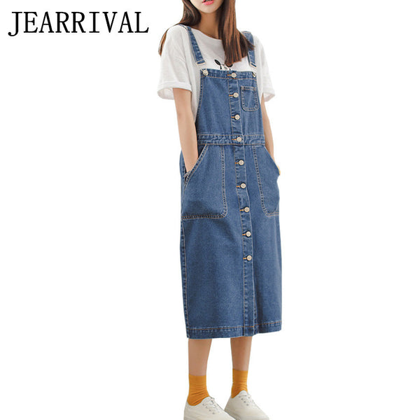Women Denim Dress 2017 New Spring Summer Dress Korean Vintage Spaghetti Strap Single-Breasted Casual Dress Sundress Vestidos