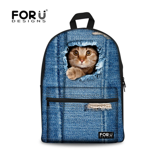 New 2017 3D Print Cute Cat Canvas Casual Laptop Denim Backpack for Teenage Girls