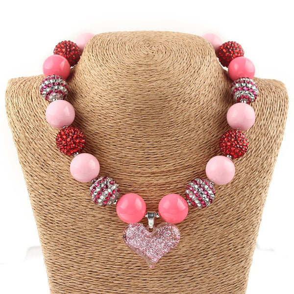 New 2017 Wholesale 1pcs Valentines Day Pink Heart Chunky Necklace, Valentines Bubblegum Necklace, Girls Chunky Necklace Jewelry
