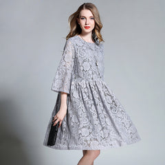 2017 European design spring autumn women floral lace dresses plus size 4XL hollow lace women pleated dress gray blue color
