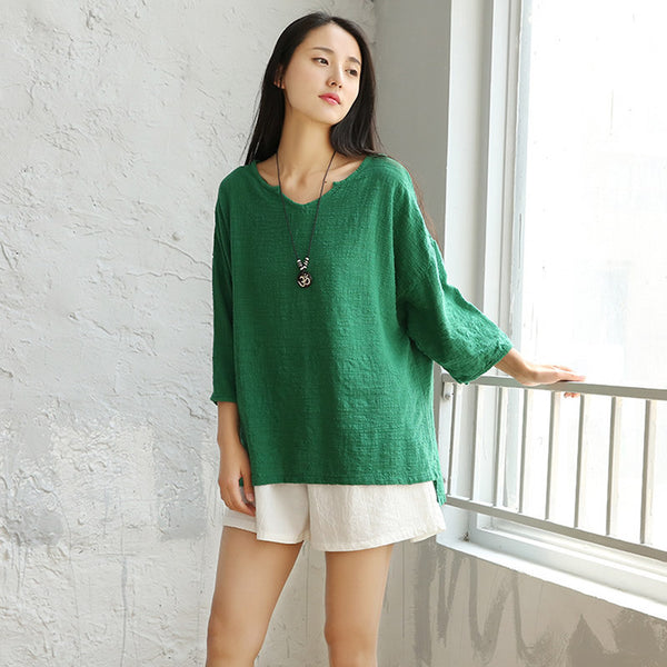 V-neck Short sleeve Loose Casual Women Blouse Shirt Solid White Green Pink Summer Shirts Blouses Cotton Linen Kawaii Tops 5027