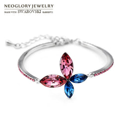 Neoglory Austria Crystal & Auden Rhinestone Charm Bracelets Elegant Colorful Butterfly Design For Women Classic Stylish Bangle