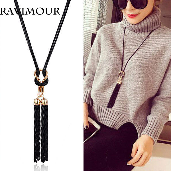 RAVIMOUR Long Necklace Gold Black Chains Necklaces & Pendants Jewelry Fashion Tassel Chokers Bijoux 2017 New Year Gifts
