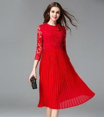 2017 elegant women lace chiffon pleated dresses red 5XL three quarters sleeves spring bow women ruffles lace dress plus size