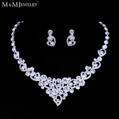 New Best Selling Silver Heart Crystal Bridal Jewelry Sets including Necklace and Earrings Free Shipping