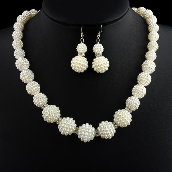 2017 Hot Sale African Handmade Simulated Pearl Beads Rhinestone Necklace Earrings Mother Party Bridal Wedding Gifts Jewelry Sets