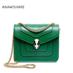 2017 Designer Women Messenger Bags Leather Chains Crossbody Bags For Girls Green Shoulder Bags Handbags Bolsas Feminina Wfyh6