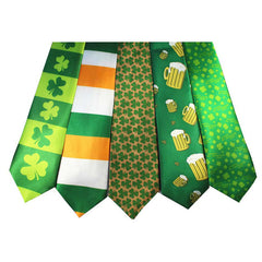 St Patricks Day Tie Green Shamrock Necktie  Irish Neck Tie Free Shipping