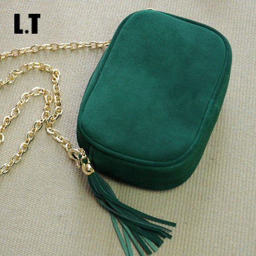 2017 Trendy Genuine Leather Messenger Bag Vintage Boho Chic Green Fringe Tassel Mini Peekaboo Crossbody Bag With Gold Chain