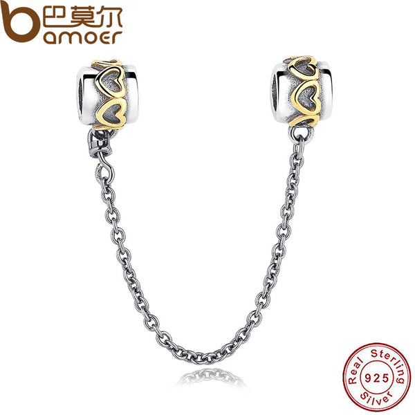 925 Sterling Silver Elegant LOVE Heart Safety Chain Charm Fit  Bracelet & Necklace Sterling Silver Jewelry PAS203