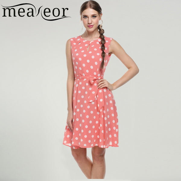 Meaneor sexy vestido summer dress dot print chiffon elegant casual bow dress White, Pink, Blue, Black