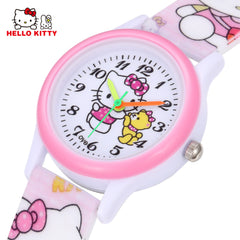 Cartoon Clock Hello Kitty Watch Girl Children Lovely Pink Dress Wrist Watch Kids Cute Child Brand Silicone Relogio Montre Enfant