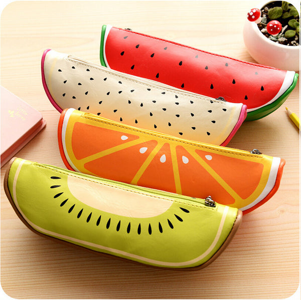 New Arrival High Quality School Supplies Cute Originality Fruit Pattern Pencil Case PU Leather Pencil Bag Cartoon Storage Bag