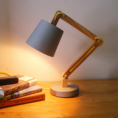 NEW LOFT Modern Wood Read Table Lamp Vintage Solid Wood Modern Desk Lamp American Study Light warm white Swing arm Bedside lamp