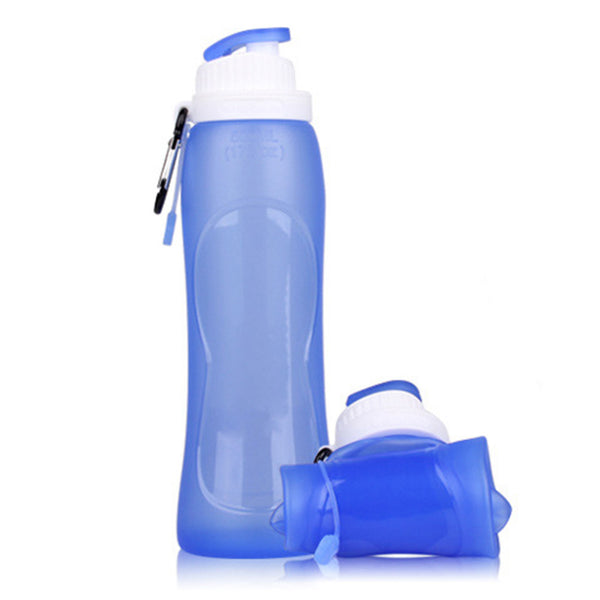 New Design 500ML Collapsible Foldable Silicone Sports Water Bottle Camping Canteens Climbing Hiking Camp Water Bottle