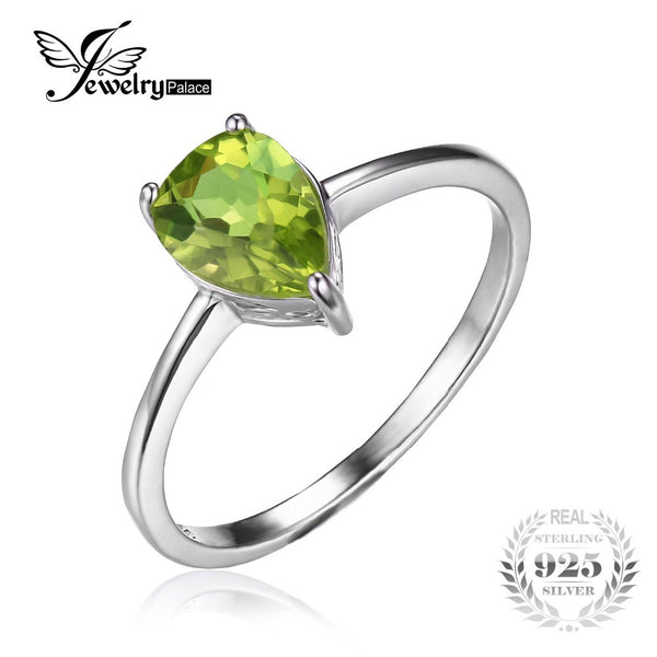 JewelryPalace Pear 1.3ct Natural Green Peridot Birthstone Solitaire Ring For Women Real 925 Sterling Silver Jewelry Newest Ring