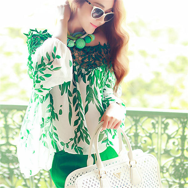 Lady Women Green Leaf Hollow Long Sleeve Blouse Lace Crochet Chiffon Top Long Sleeve Shirt