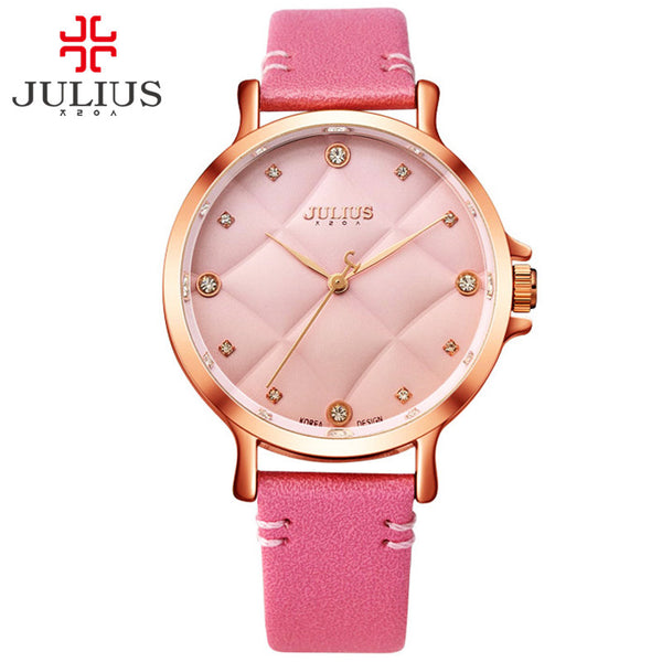 JULIUS 2017 New Fashion Ladies Leather Crystal Diamond Rhinestone Pink Watch Valentine Gift For Girls Beauty Dress Reloj JA-877