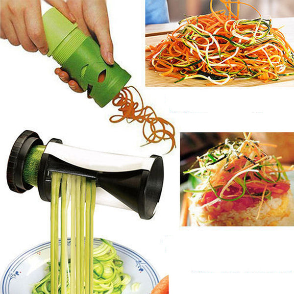 Curly Springs Veg  ABS Stainless Steel 2PK Fruit Vegetable Cutter Twister Food Processor Spiral Slicer Grater Home Kitchen Tool