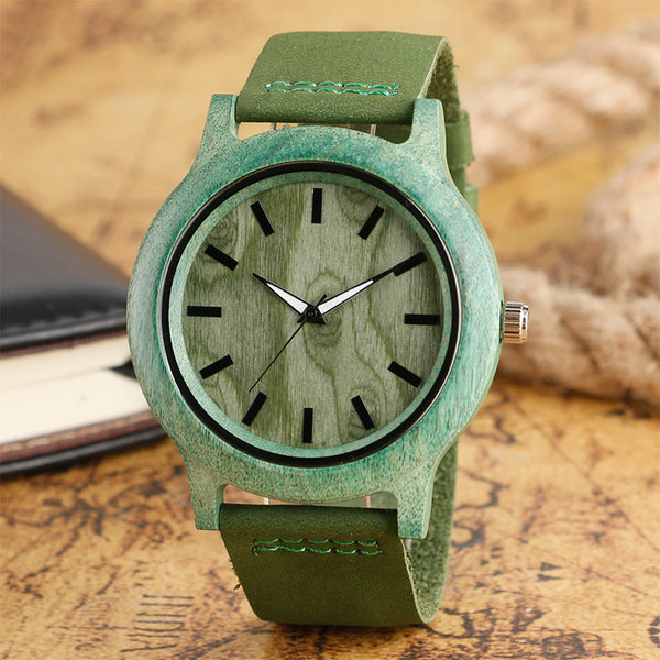 Fashion Men's Women's Wood Watch Green & Gray Hand-made Light Nature Wooden Wristwatches for Gift Reloj de madera