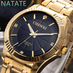 2017 New Hot Sale NATATE CHENXI Clock Gold Full gold Stainless Steel Quartz Watches for Men