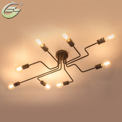 Vintage Wrought Iron 4/6/8 Heads Multiple Rod Ceiling Lamp Creative Retro Nostalgia Cafe Bar Ceiling Lights,CL06