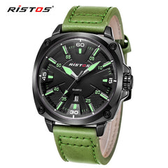 Reloj Hombre 2016 Ristos Fashion Chronograph Sport Mens Watches Top Brand Luxury Military Green Quartz Watches relogio masculino