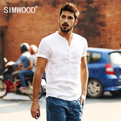 Simwood Brand 2016 New Arrival Summer Short-sleeved White Solid Color Slim Fit Plus Size Free Shipping CS1534