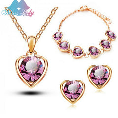 2016 New Arrival 18K Rose Gold Plated Crystal Heart Fashion Birdal Jewelry Sets for Women Necklace Earrings Sets Y5351