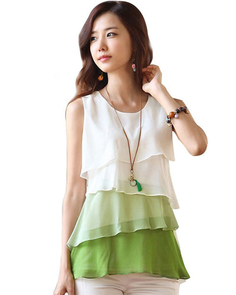2017 New Multi-Colors Blouse Shirt Spring/Summer Style Flounce Tiered Tops Round Neck Sleeveless Chiffon Shirt Blusas Femininas