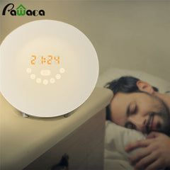 Simulated Sunrise Sunset Wake Up Digital LED Alarm Clock FM Radio Electronic Alarm Clocks Touch Sensor Night Light Beside Lamp