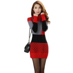 Woman Winter Dress 2017 Knitted Dress Turtleneck Long Sleeve Women Sweater Dress Sweaters and Pullovers Plus Size Women Clothing