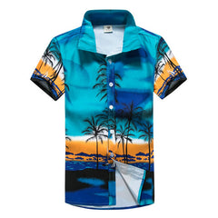2017 Summer Printing Hawaiian Shirt Men Short Sleeve Casual Mens Shirt (Asian Size)