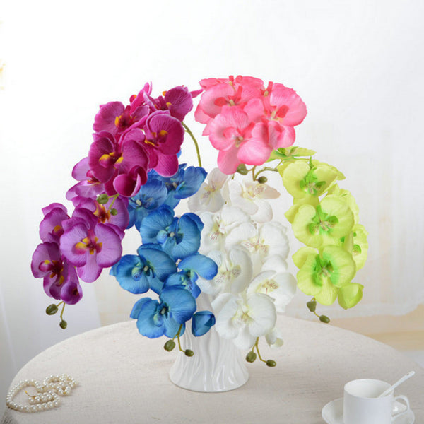 8 Head DIY Artificial Butterfly Orchid Fake Silk Flower Bouquet Phalaenopsis For Wedding Home Decoration Accessories 2017 Spring