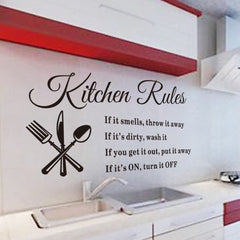 Removable Wall Stickers Kitchen Rules Decal Home Accessories Vinyl Home Decor