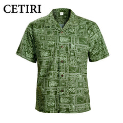 Brand Beach Shirt Men's Hawaiian Shirt Green Cotton Plus Size Fancy Dress Shirts For Men Chemise Homme Camisa Palmeiras Overhemd