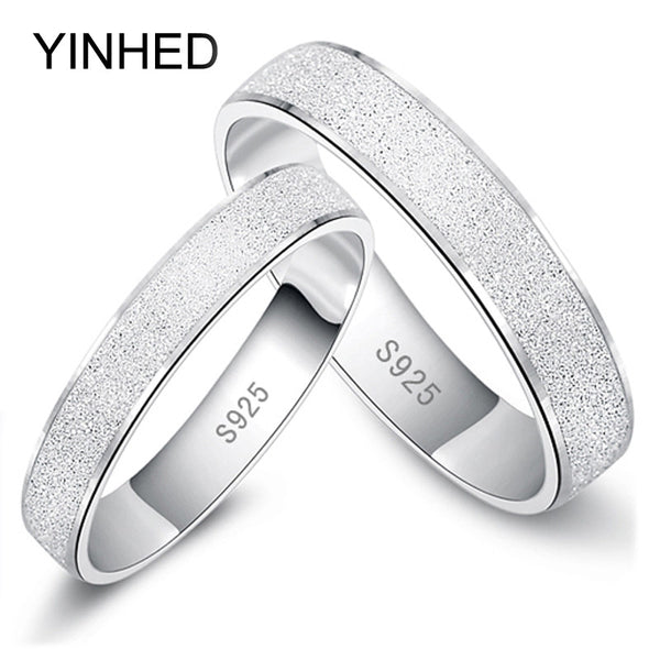 Fashion Frosted Couple Rings Real 925 Sterling Silver Wedding Rings for Women and Men 1 Pair Engagement Ring Set  Jewelry ZR187