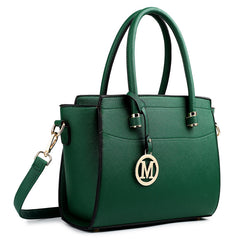 Miss Lulu Fashion Women Classic M Metal Letter PU Leather Handbag Green Shoulder Tote Hand Bag Cross Body Satchel LT1625