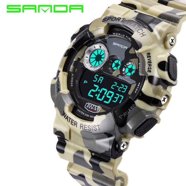 2017 New Brand SANDA Fashion Watch Shock Resistant Men's Luxury LCD Digital G Style Sports Camouflage Gift Relogio Masculino