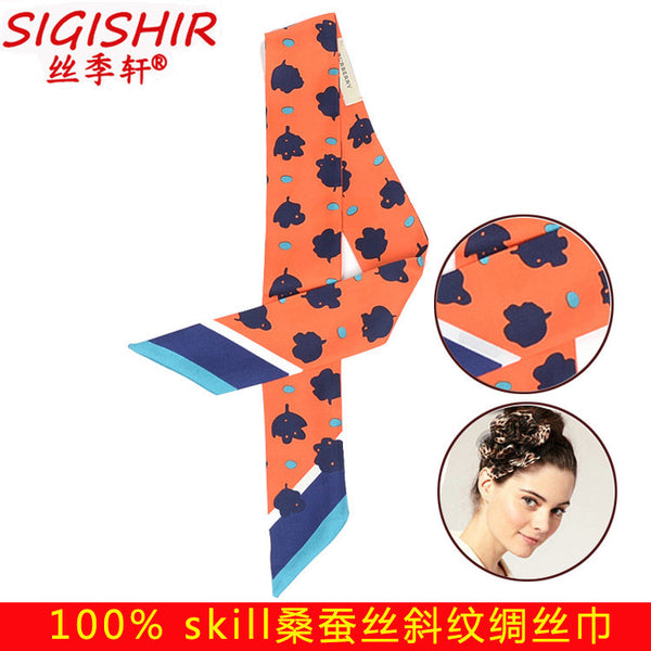 Ji Xuan new foreign trade silk silk bag handle small ribbon tied with a woman silk scarf hair accessories wholesale