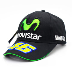 2017 Fashion MOTO GP 46 Motorcycle 3D Embroidered F1 Racing Cap Men Women Snapback Baseball Hat Green M Movistar Baseball Cap