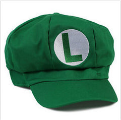 Super Mario Bros Adult Kids Costume Hat Women Men Letter Print Anime Cosplay Red Mario Baseball Cap and Mesh Green Hat